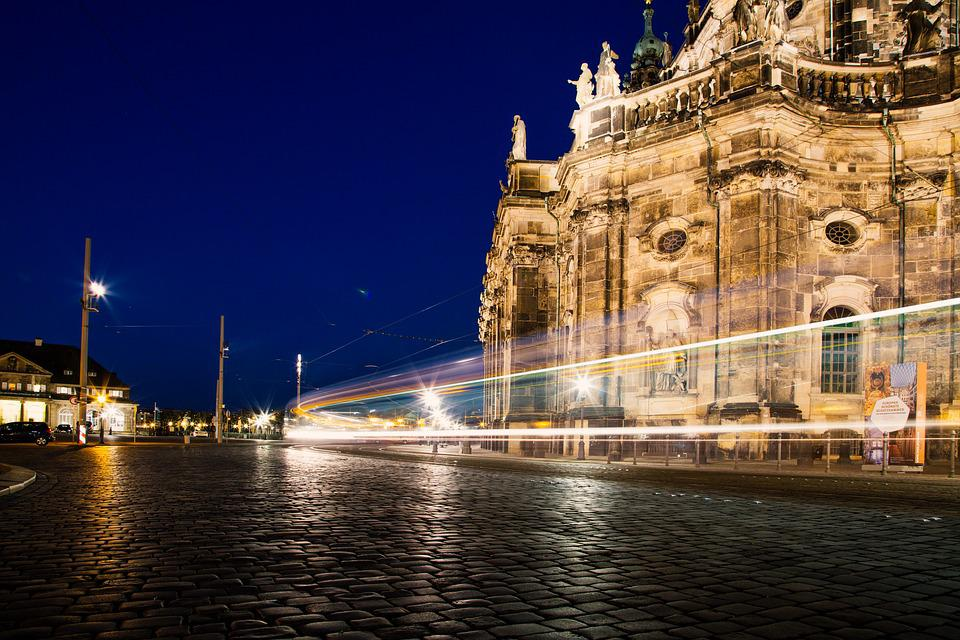 Dresden, City, Night, City View, Lights, Architecture