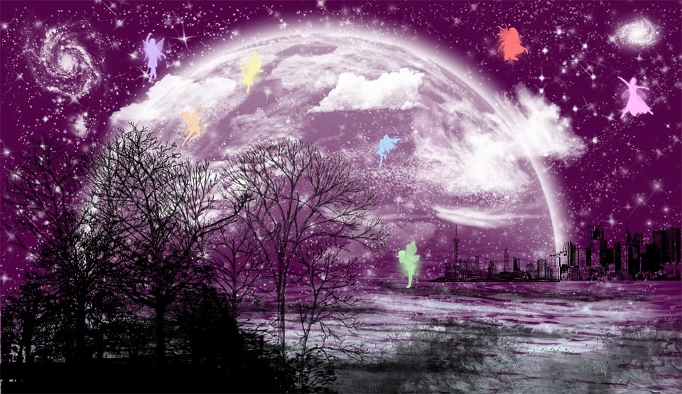 Background, Moon, City, Forest, Fee, Romantic, Purple