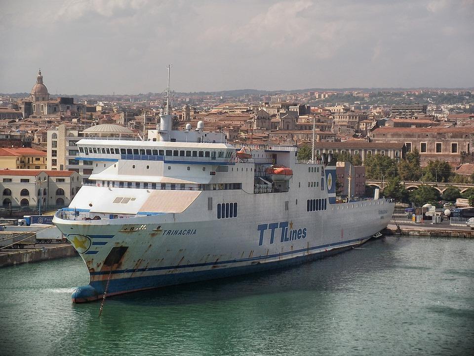 Catania, Sicily, Ocean Liner, Cruise, City, Urban, Bay