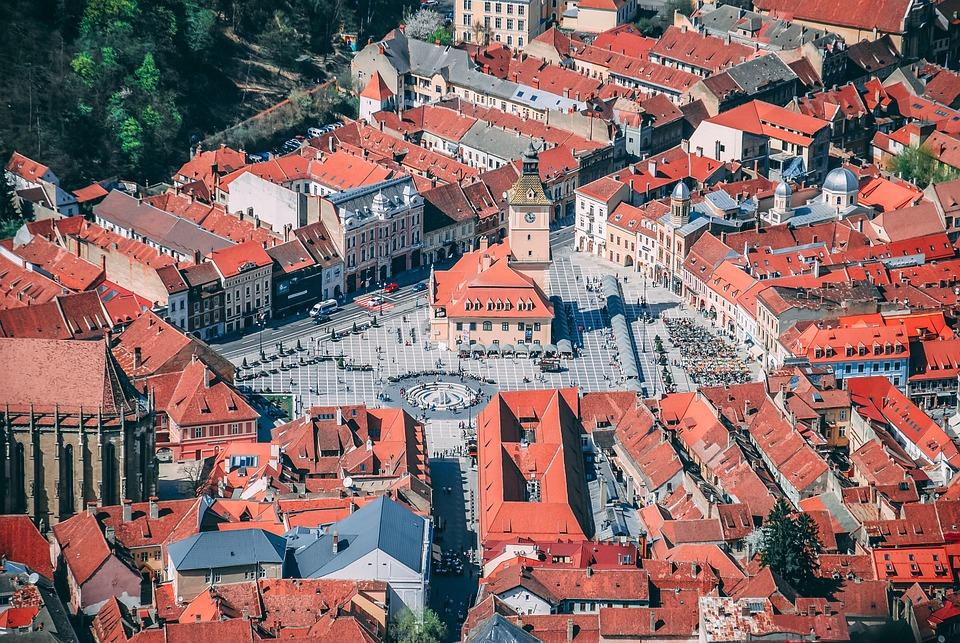 Buildings, City, Aerial View, Bird's Eye View, Brasov