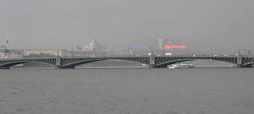 Bridge, River, Rain, City, Water