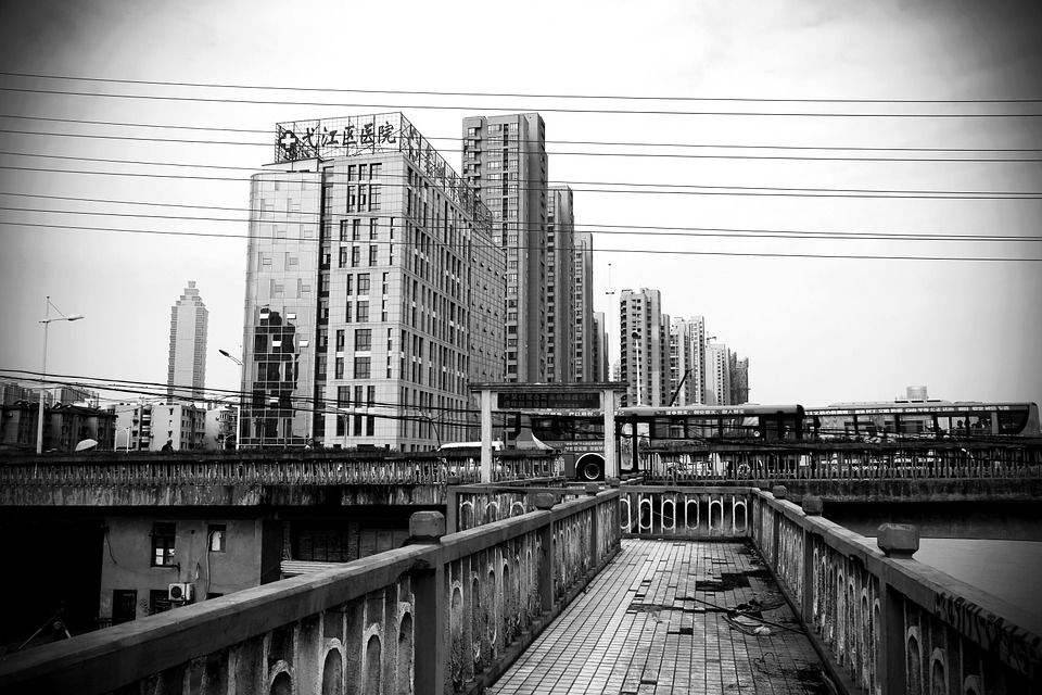 Black And White, Building, Site, City, Urban