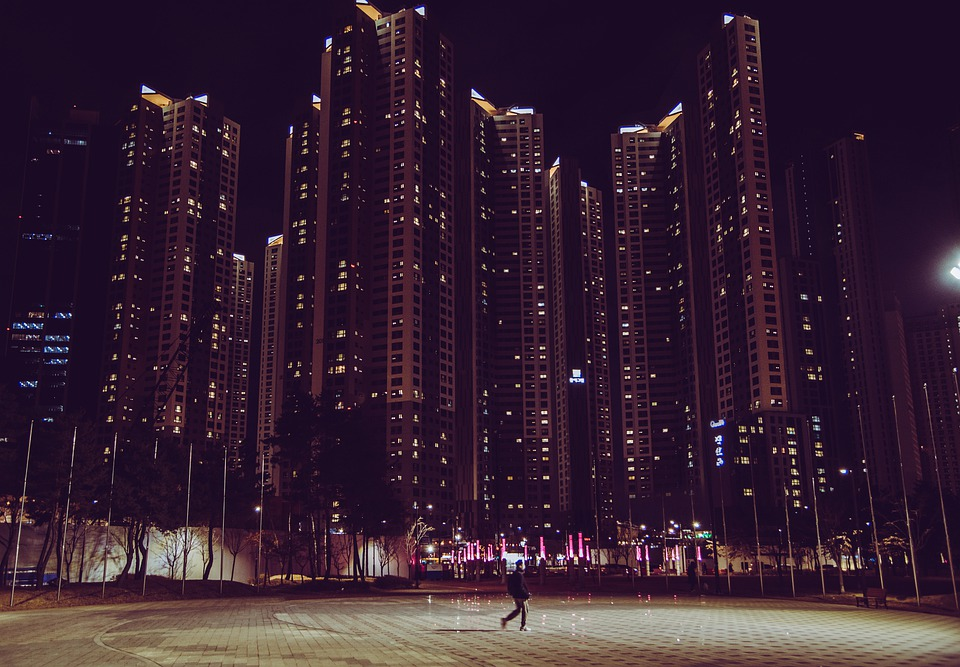 City, Evening, Skyscrapers, Building, Cityscape, Person