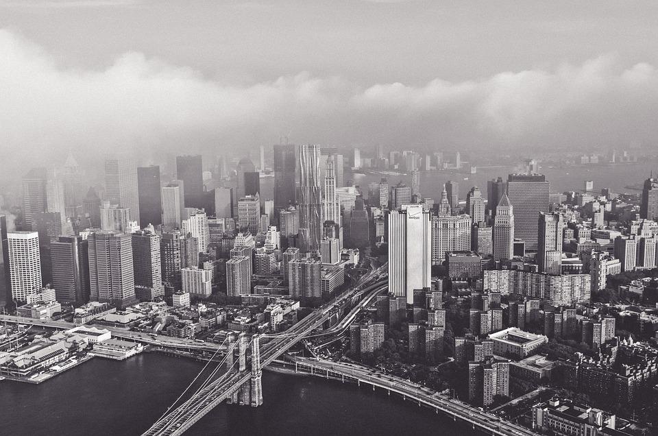 Bridge, Buildings, City, Cityscape, Hazy, Skyline
