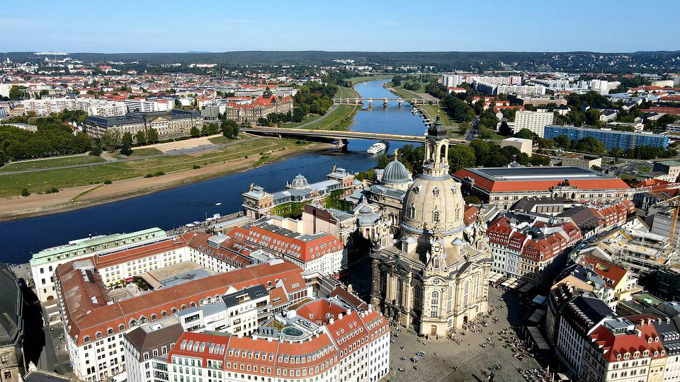 Frauenkirche, River, City, Buildings, Town, Cityscape