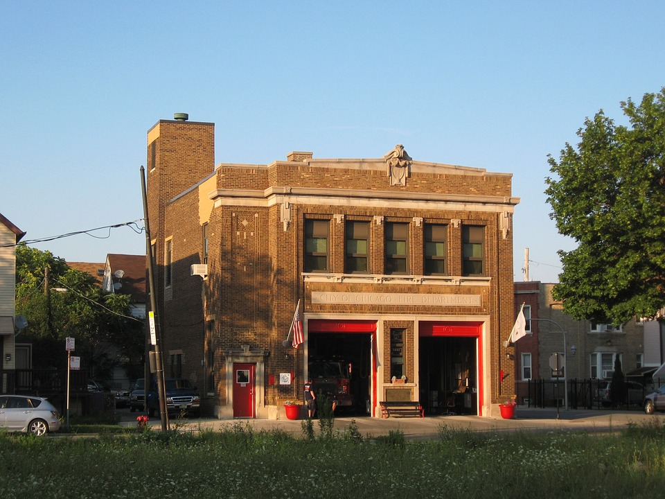Firehouse, Chicago, Urban, City, Structure, Building