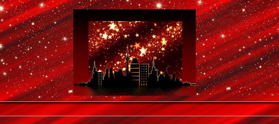 City, Silhouette, Christmas, Star, Advent, Atmosphere
