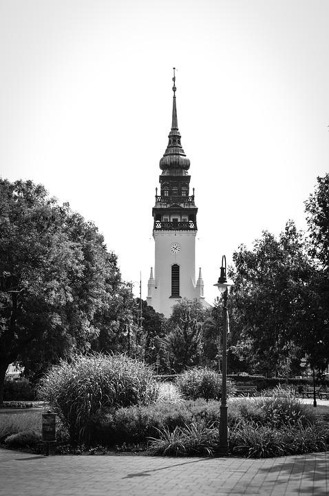 Tower, Church, Black, White, Architecture, City