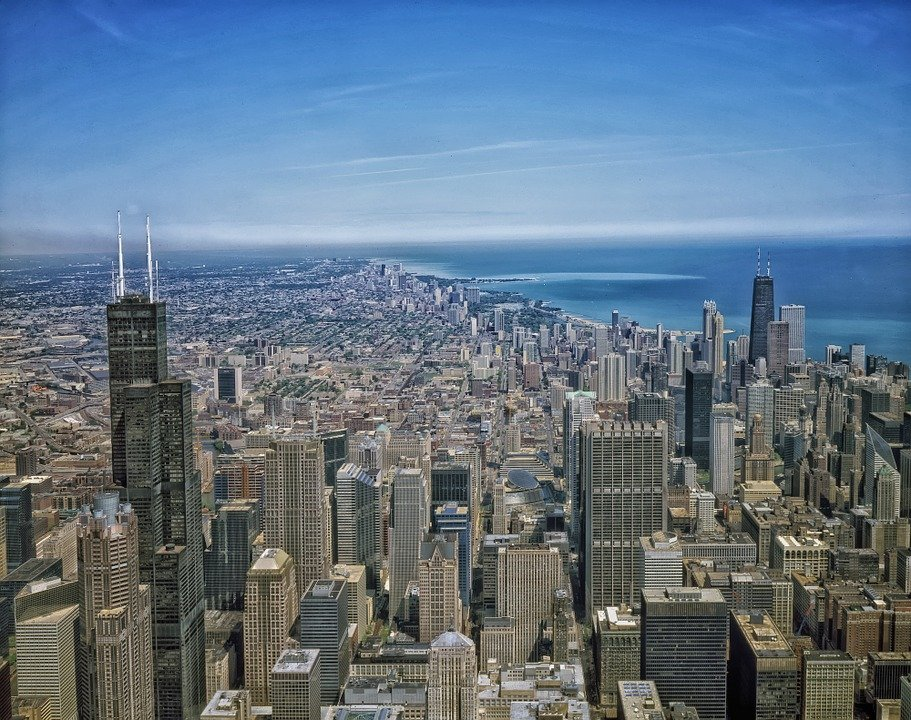 Free Photo City Cities Illinois Aerial View Chicago