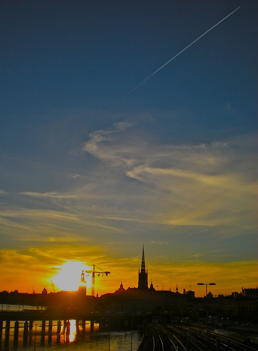 Sunset, City, Himmel, Cloud, The Old Town, Stockholm