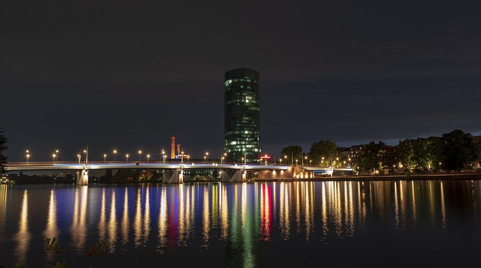 Skyline, Skyscraper, City, Bridge, Connection, Away