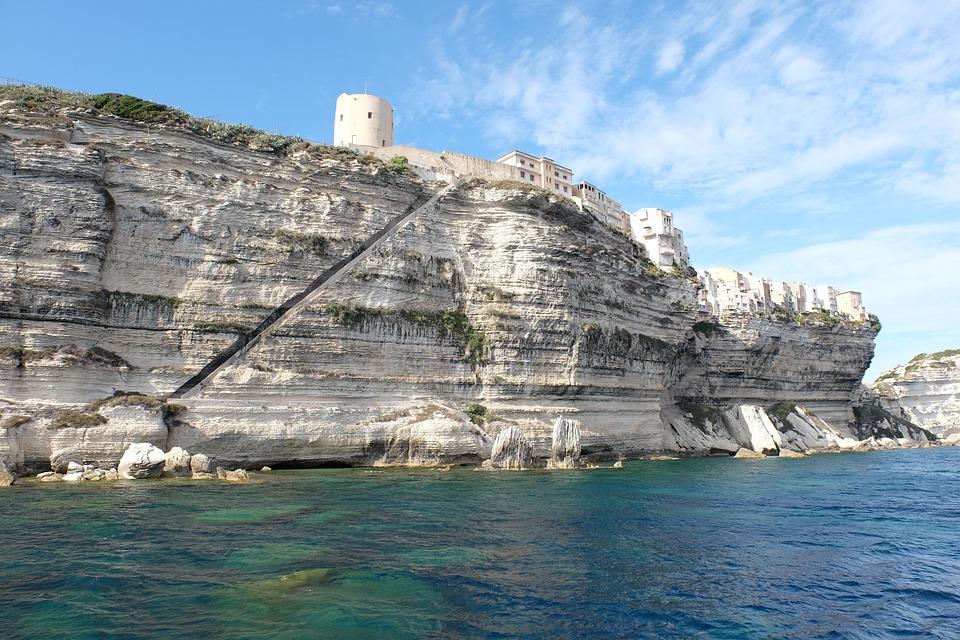 Corse, Sea, Cliffs, City