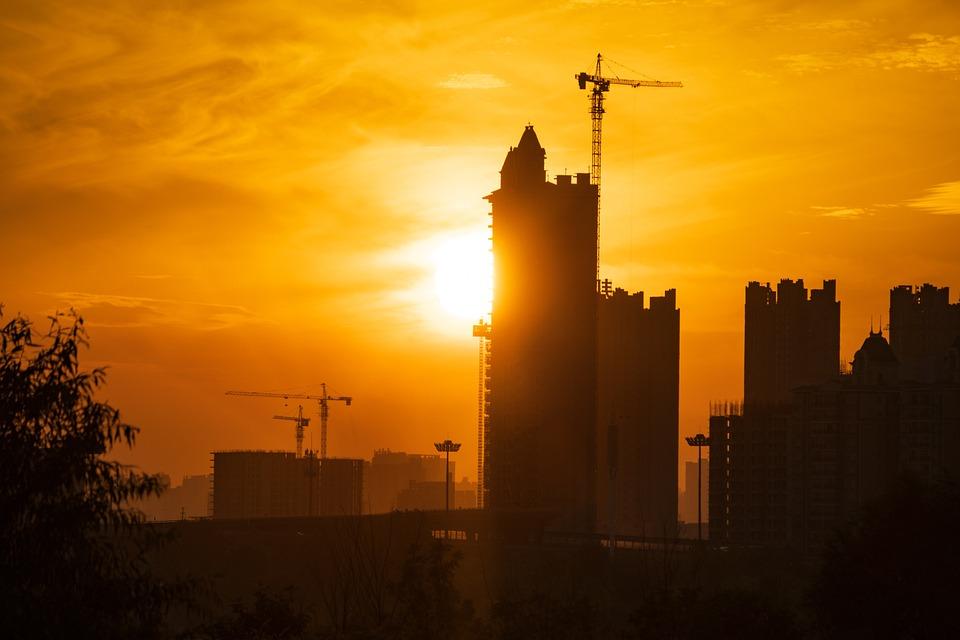 Sunset, Construction, City, Crane, Building