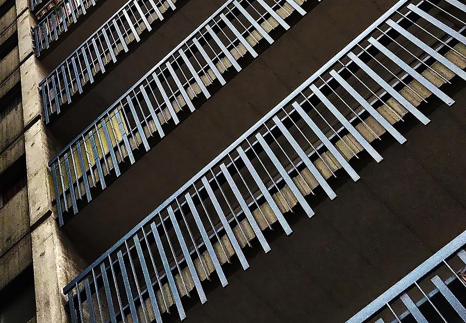 Balcony, Railing, City, Grey, Dilapidated, Shabby