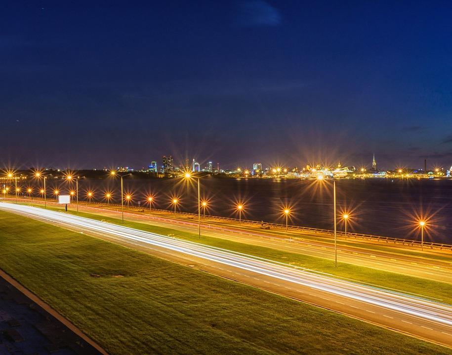 Tallinn, City, Night, Road, Estonia, Light