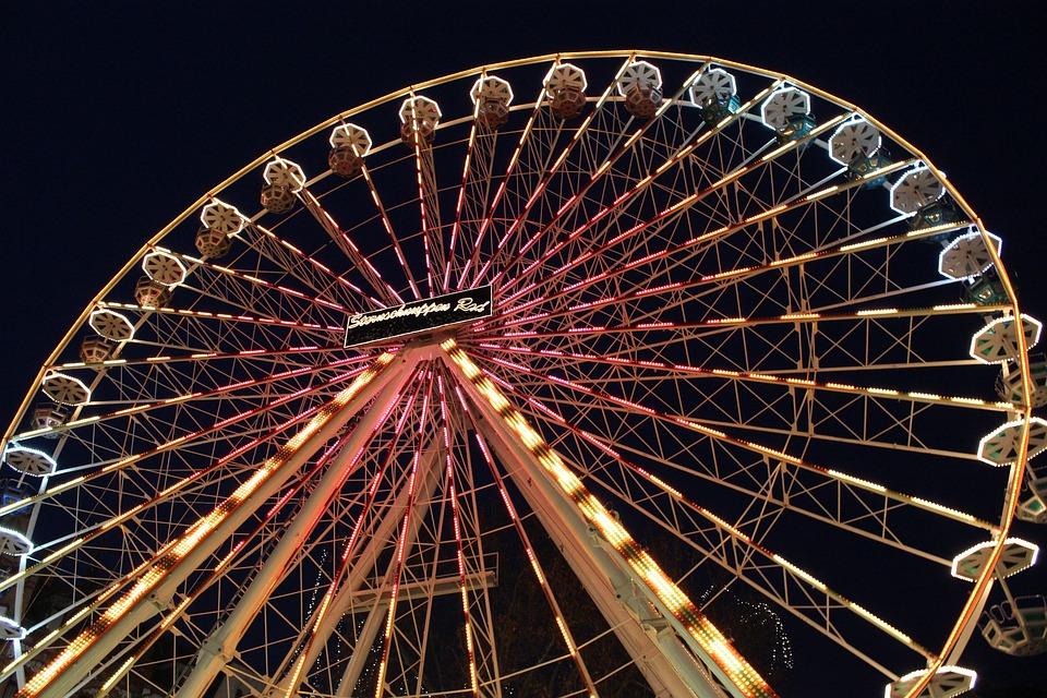 Ferris Wheel, Night, Lighting, City, Lights, Evening