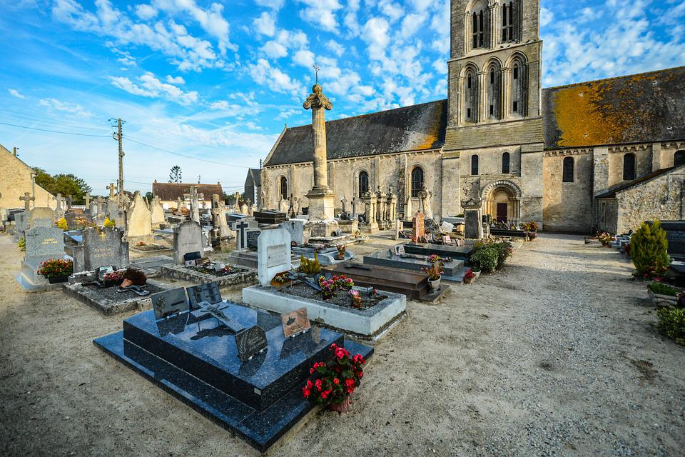 Normandy, France, Cemetery, Church, Architecture, City