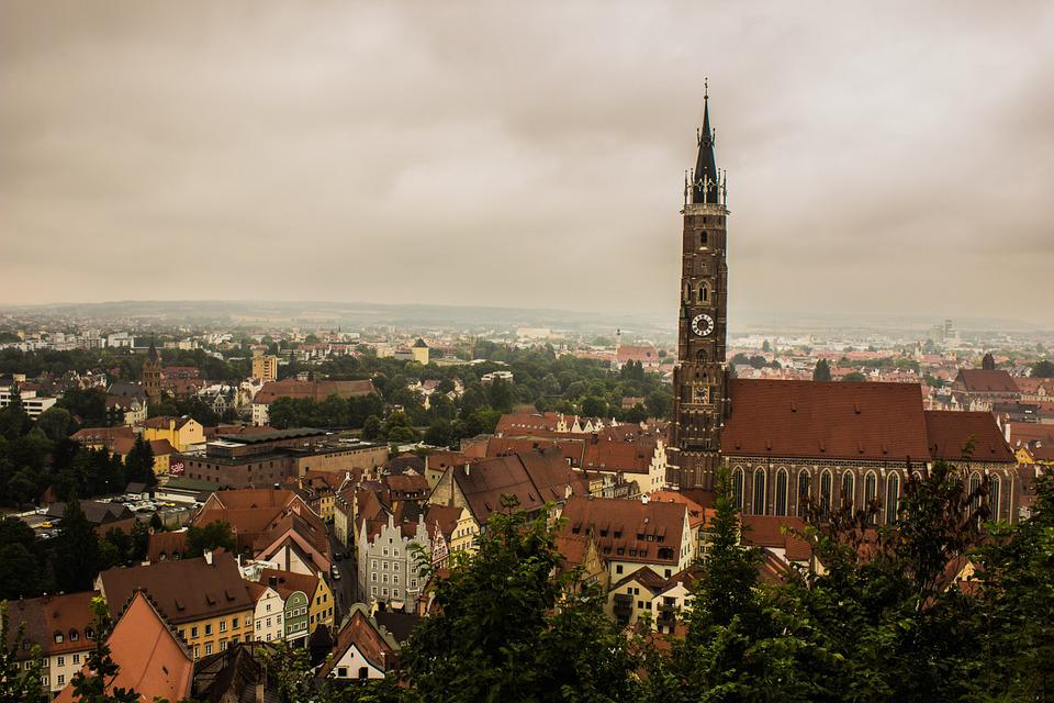 City, Church, Landshut, Old Town, Gloomy