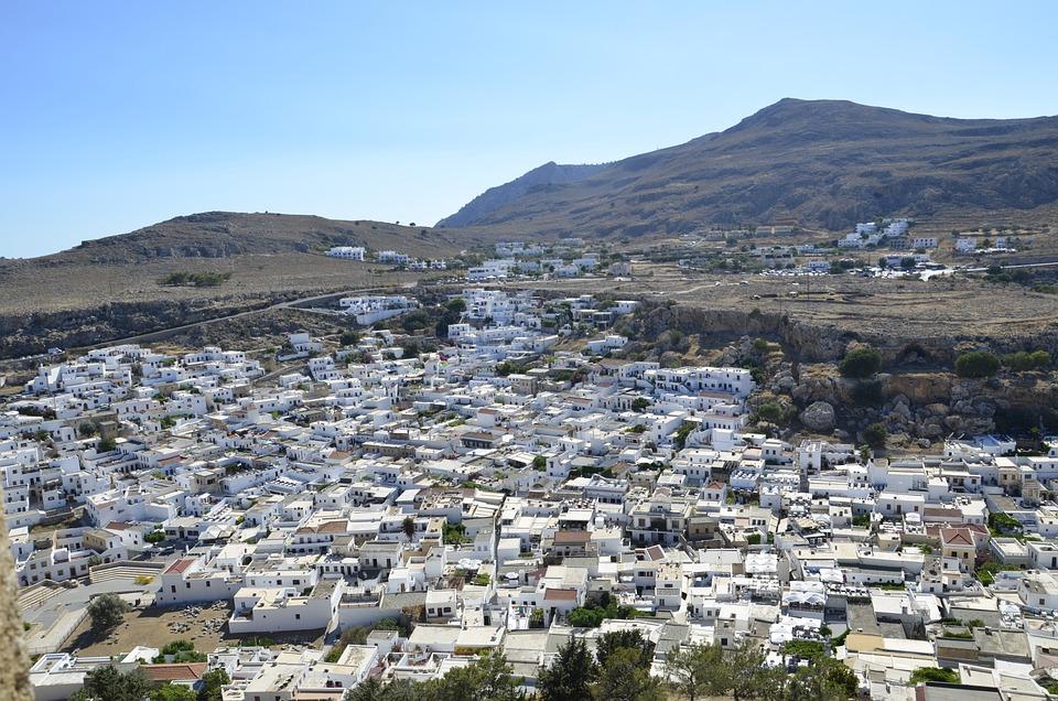 Greece, Mountains, City, Summer, White