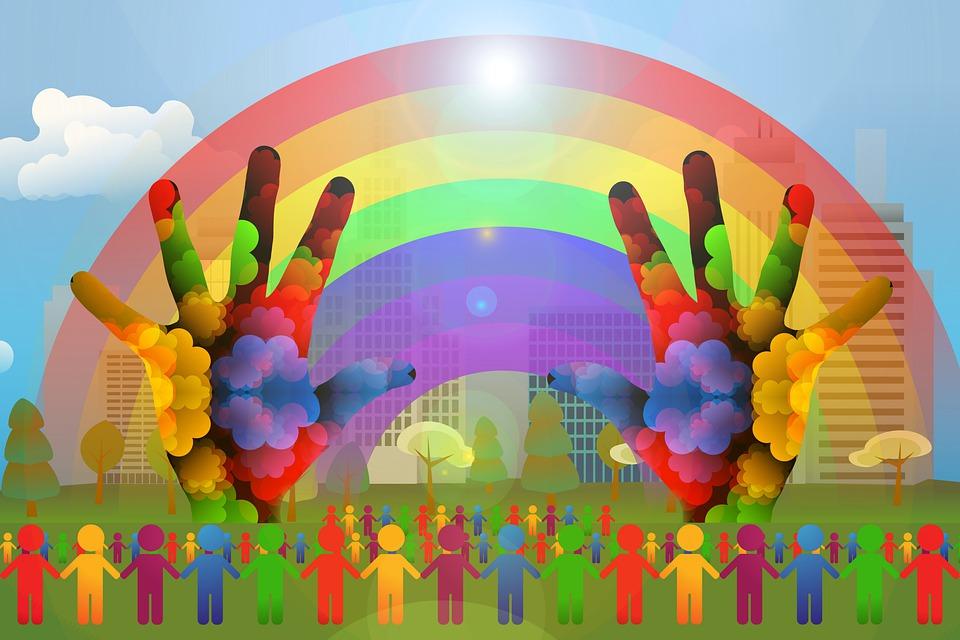 Diversity, Silhouettes, Rainbow, Hands, City, Skyline