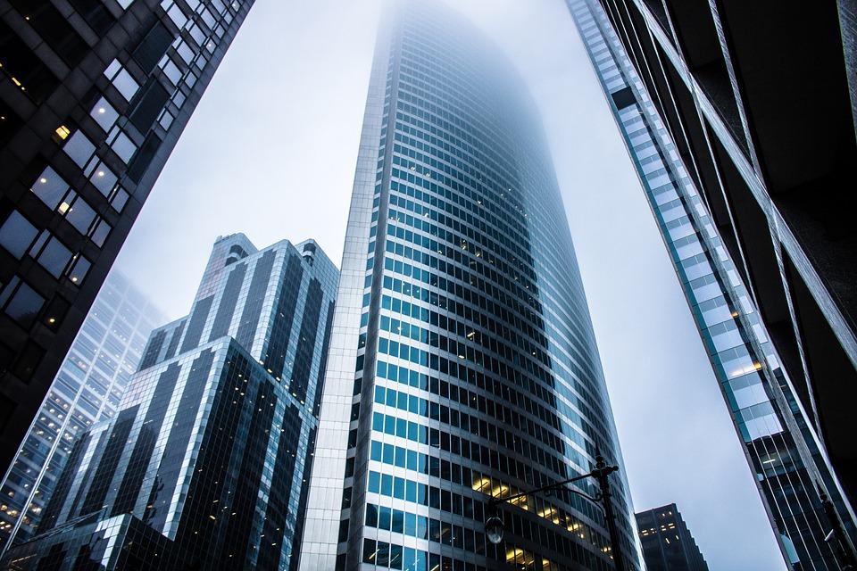 Highrise, Fog, Urban, City, Metal