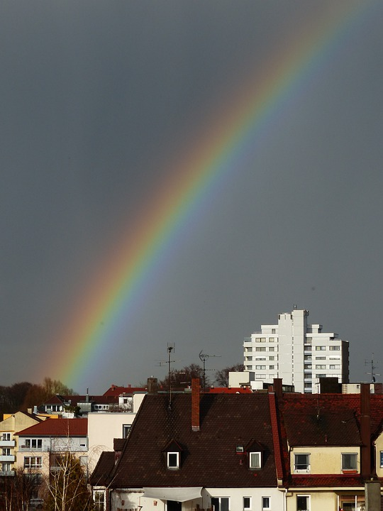 Rainbow, Weather Phenomenon, Sky, Rain, City, Homes