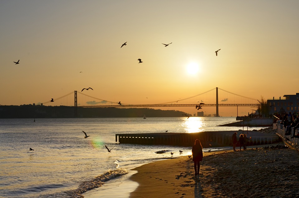 Lisbon, Bridge, River, Sunset, City, Portugal, Light