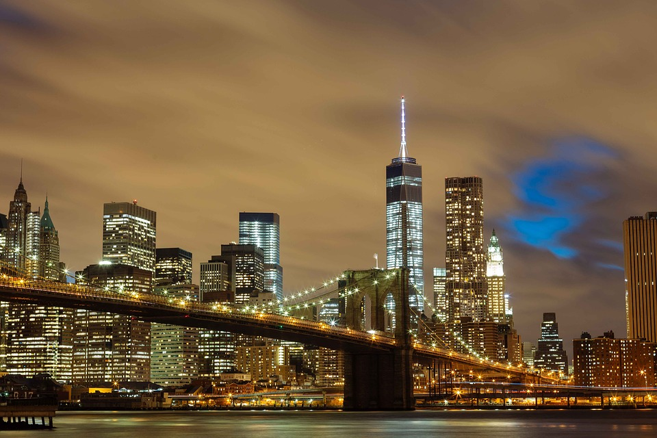 Bridge, Brooklyn Bridge, Buildings, City, City Lights