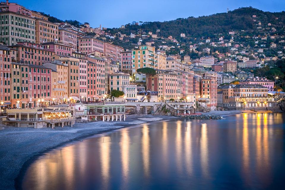 Buildings, City, Beach, Ocean, Illuminated, City Lights