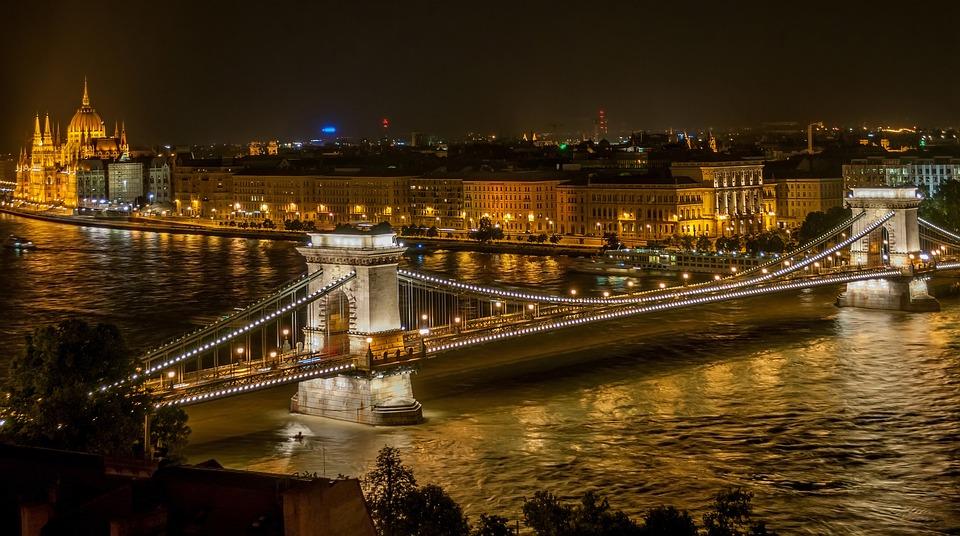 Bridge, River, City, Illuminated, City Lights