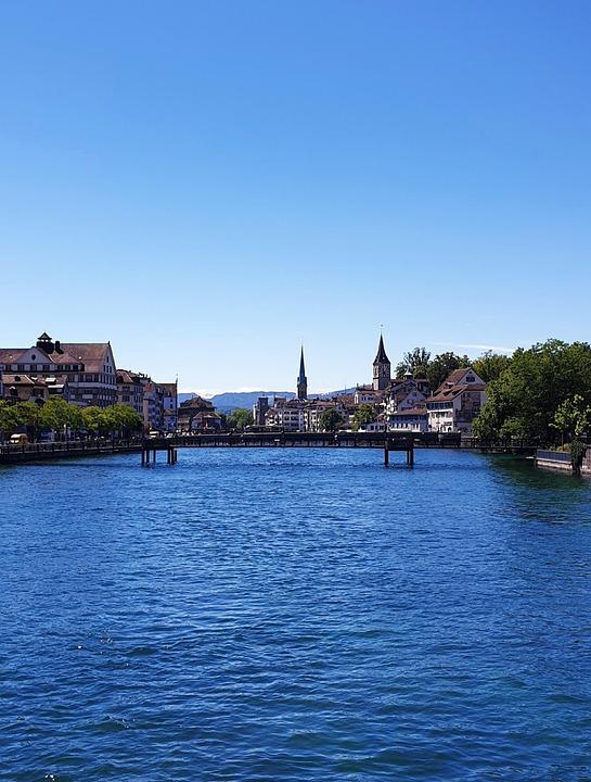 Zurich, Bridge, Limmat, Water, Architecture, City