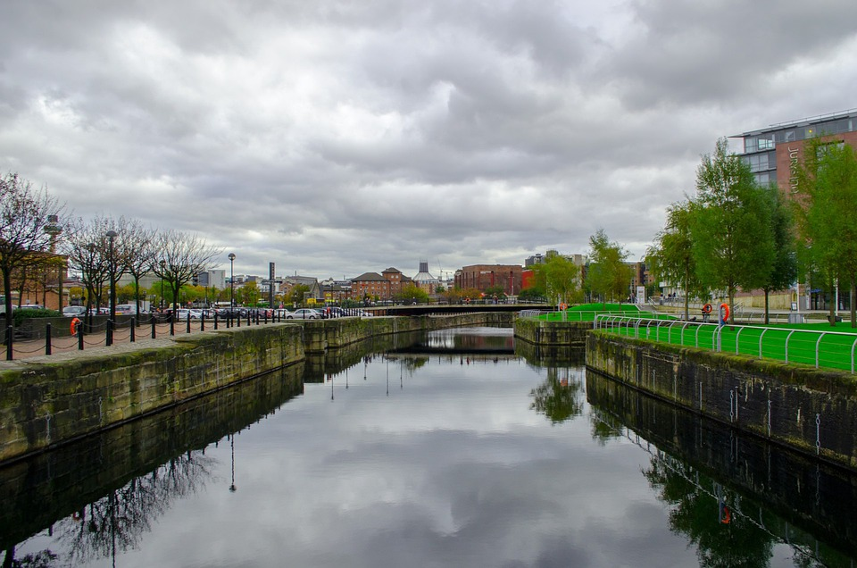 River, Town, City, Architecture, Liverpool, England