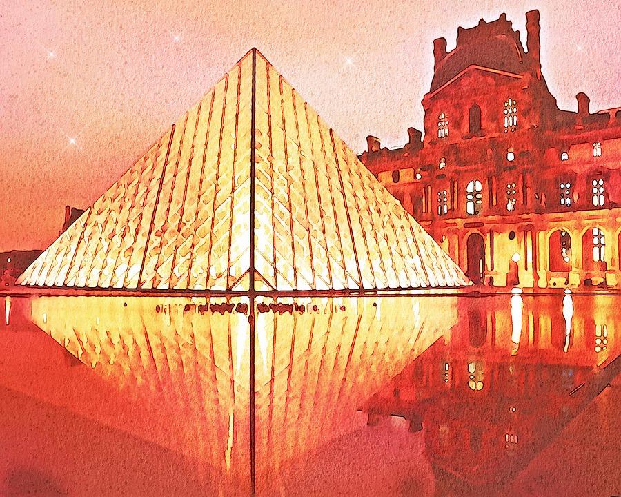 Paris Watercolor, Eiffel Tower, Louvre, City