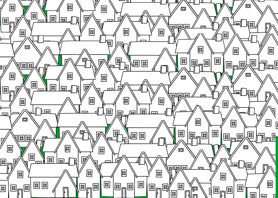 House, Home, Outline, Neighborhood, City, Move