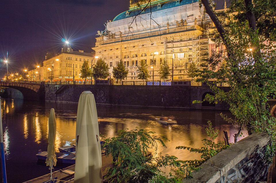 National Theatre, Prague, Night, City, Lights, Castle