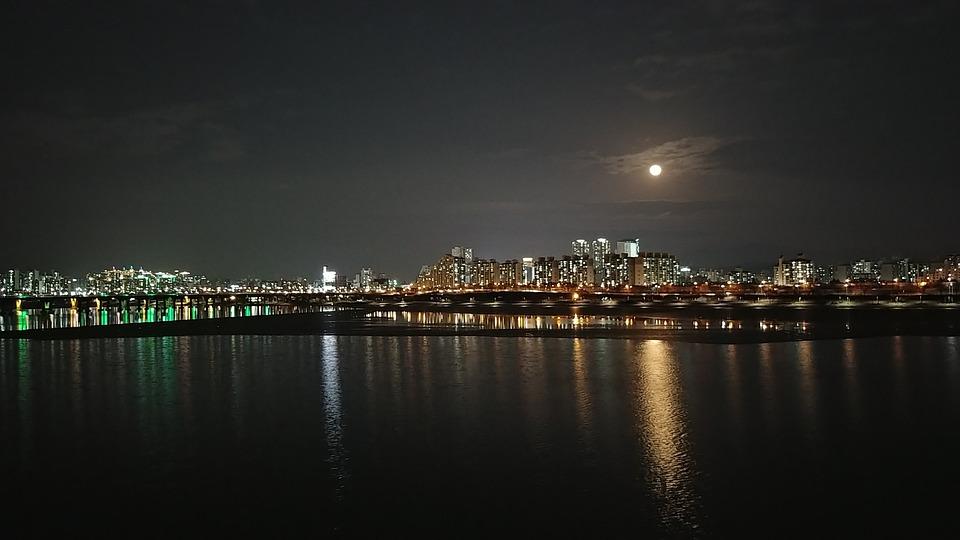 City, Han River, Bridge, Night View, Officer, Modern