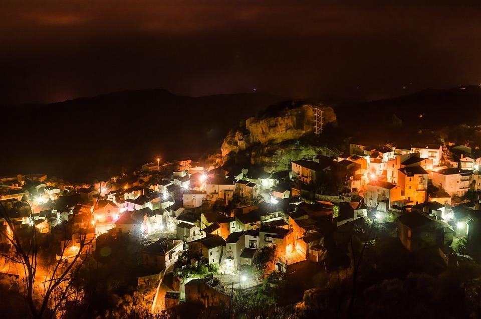 Landscape, Nocturne, Evening, City, Lighting, Night