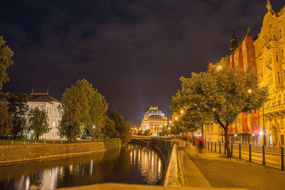 National Theatre, City, Prague, Night, Old Building