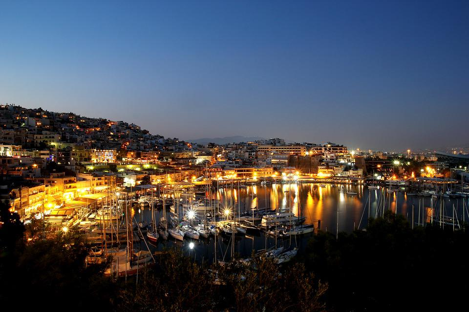 Travel, City, Panoramic, Illuminated, Dusk, Evening