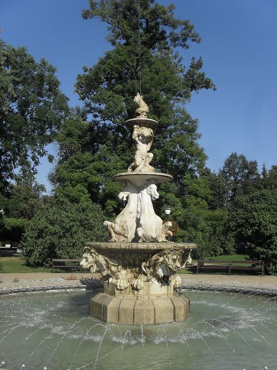 Fountain, Statues, Horse, Park, Landmark, City