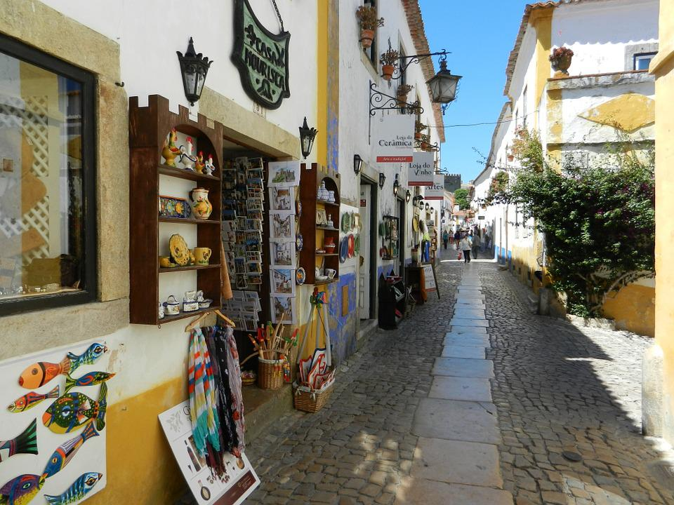 Obidos, Portugal, City, Houses