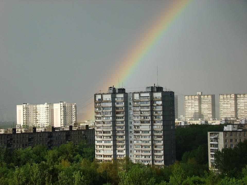 City, Rainbow, High Rise Building