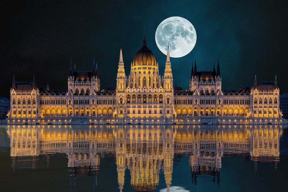 City, Night, Budapest, Reflection, Moon, Hungary