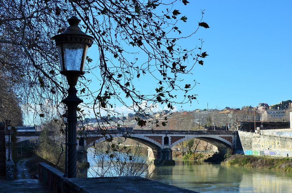 River, Lamppost, Winter, Bridge, City, Tiber, Rome