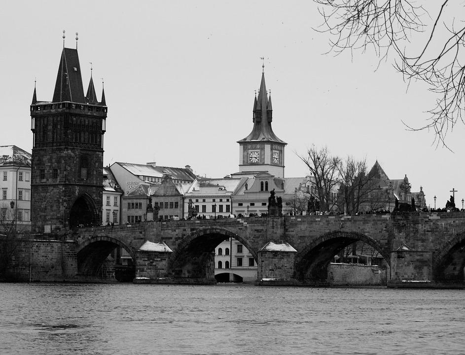 City, Prague, Charles Bridge, River