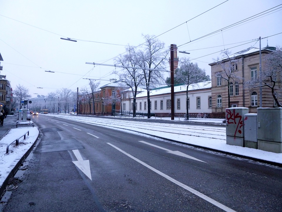 Road, Winter, Karlsruhe, Snow, City