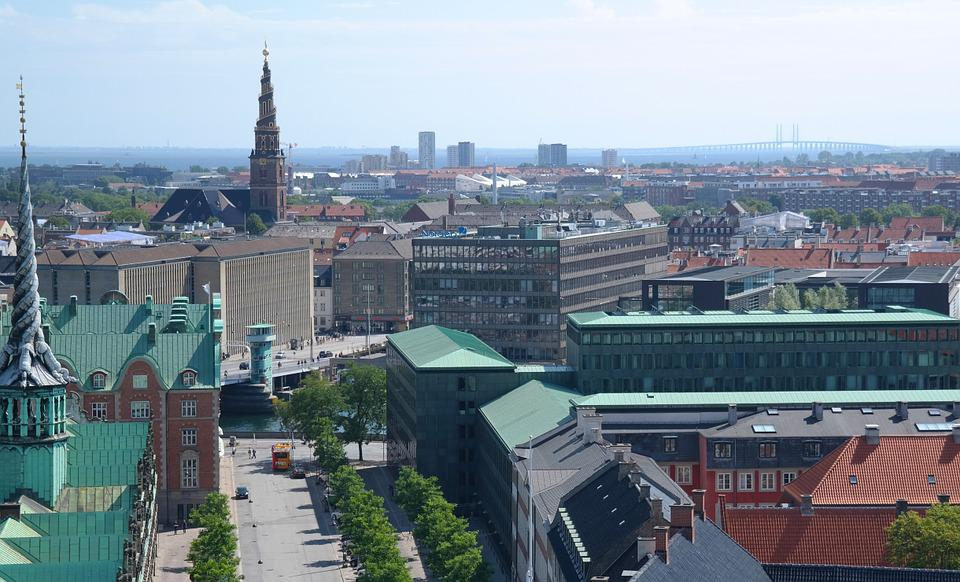 Copenhagen, Denmark, City, Blue Sky, Rooftops, Day