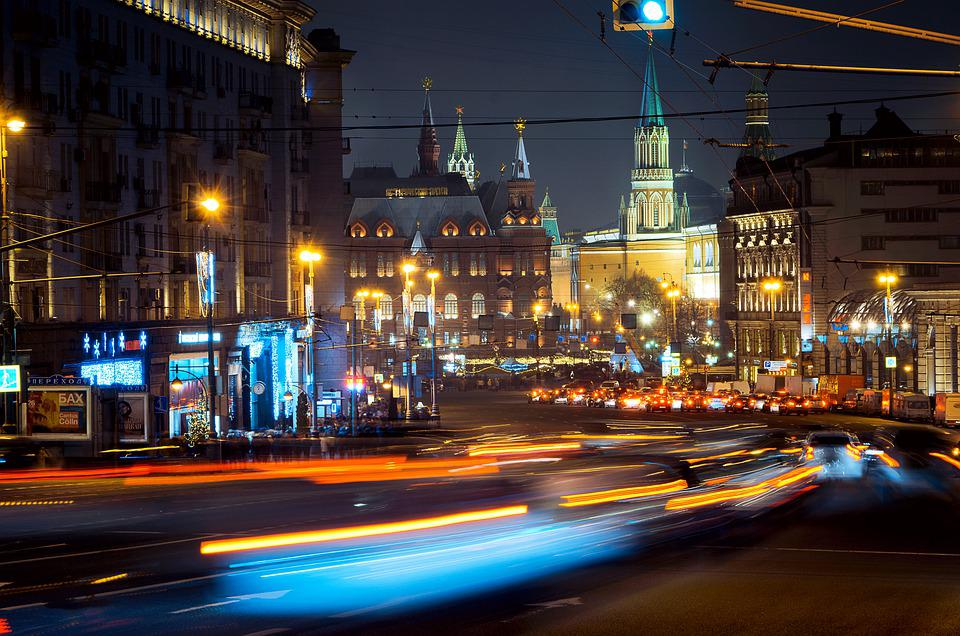 Street, City, Building, ночь, город, Moscow, Russia