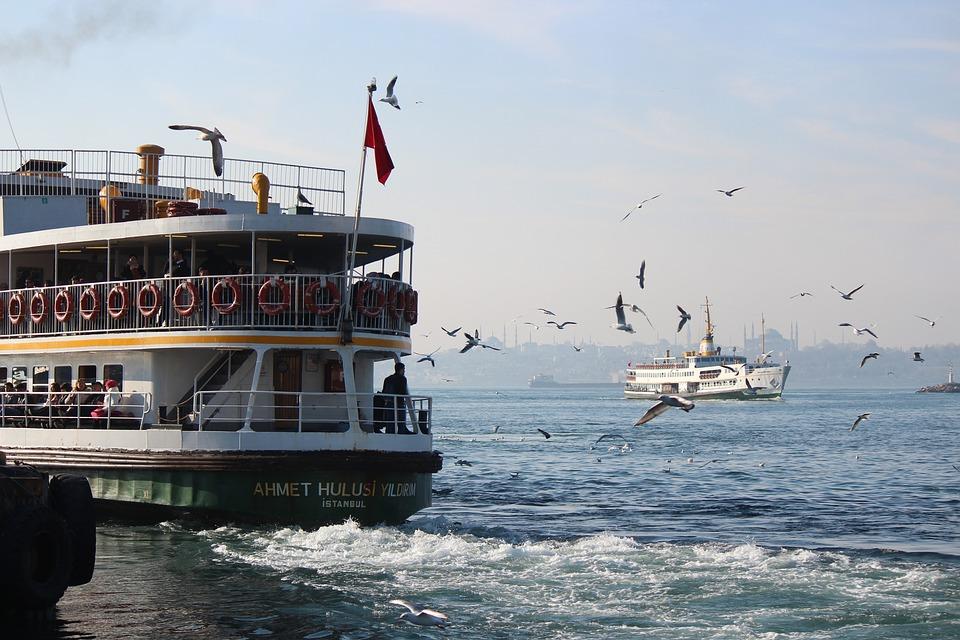 Boat, Marine, City, Sea, Seagull, Birds, Sky, Ship