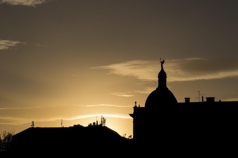 Zagreb, Silhouette, Sunset, Croatia, Europe, Town, City